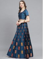 Blue Satin Bollywood Lehenga Choli
