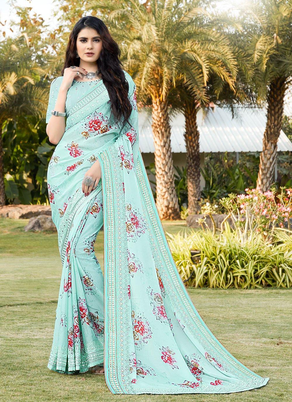 Blue Satin Classic Designer Saree