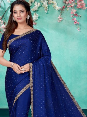 Blue Satin Embroidered Classic Saree