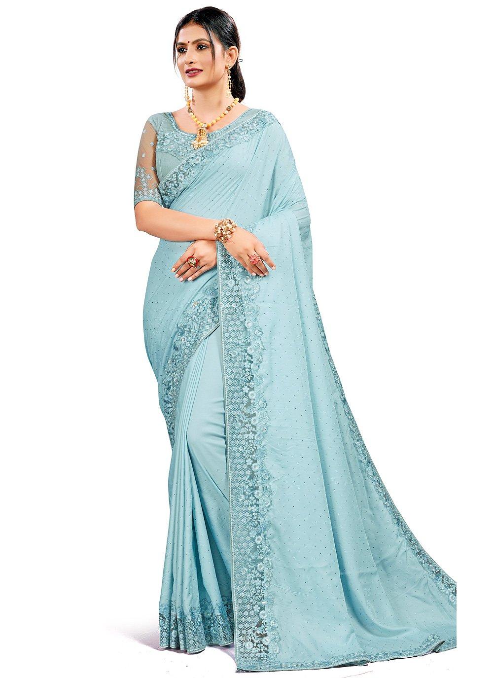 Blue Satin Silk Festival Traditional Designer Saree