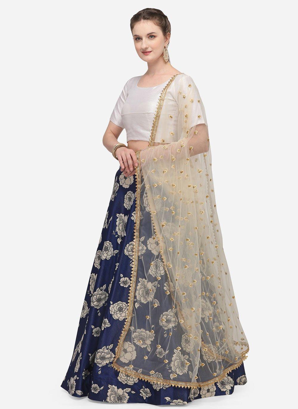 Blue Satin Silk Lehenga Choli