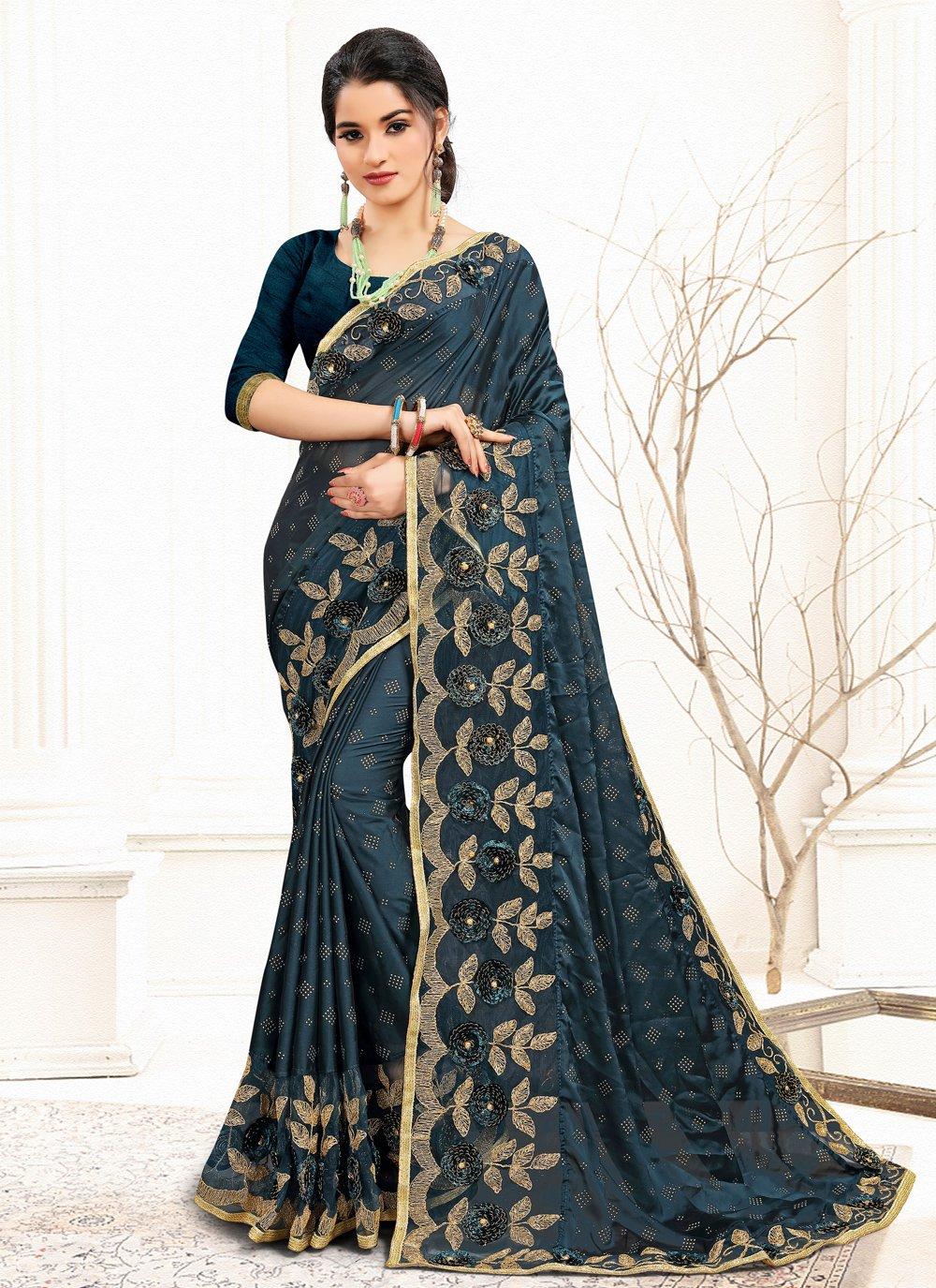 Blue Sequins Banglori Silk Designer Traditional Saree