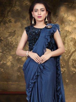 Blue Sequins Classic Saree