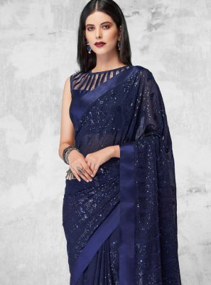Blue Sequins Engagement Designer Saree