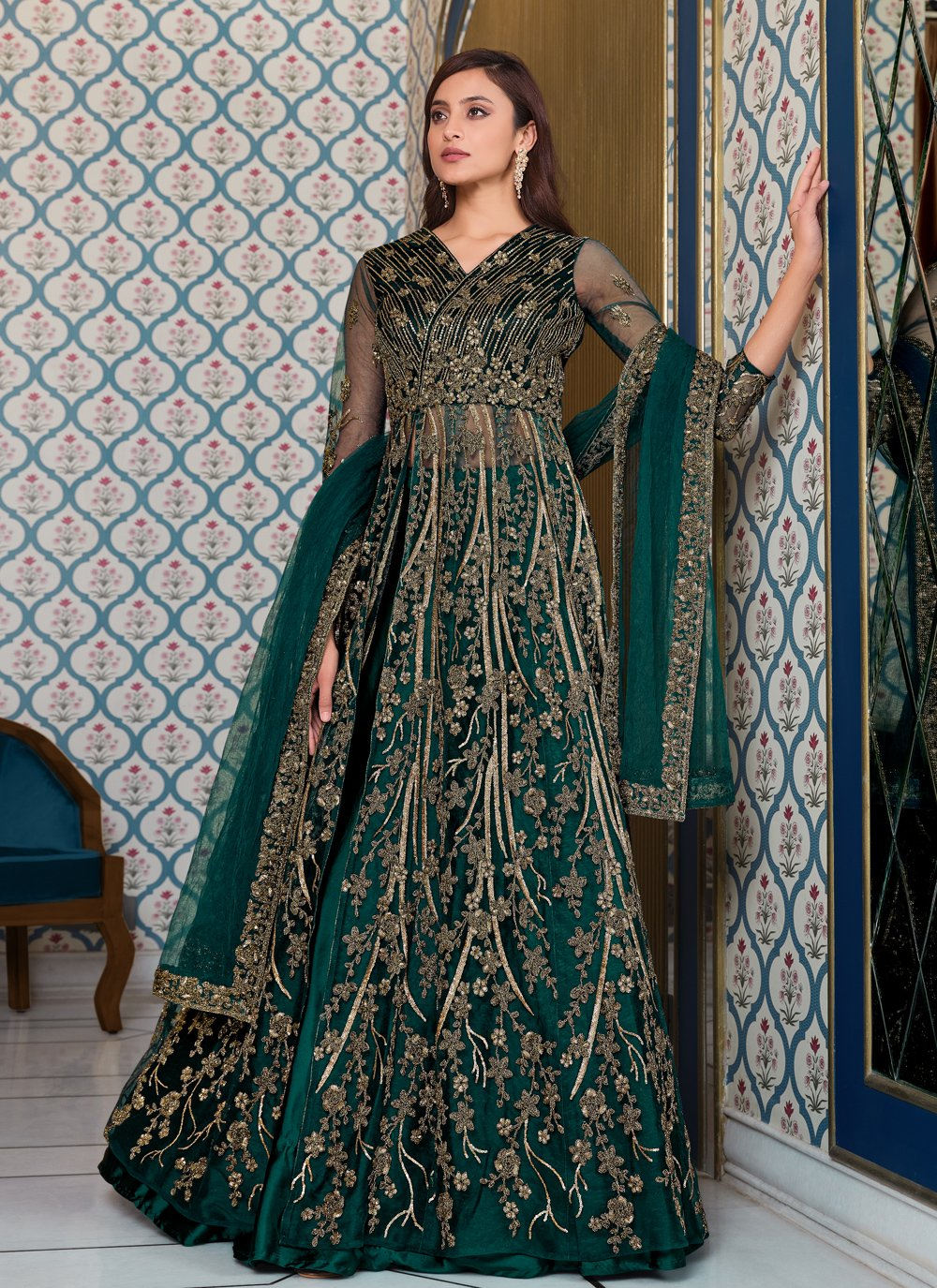 Blue Sequins Net Long Choli Lehenga