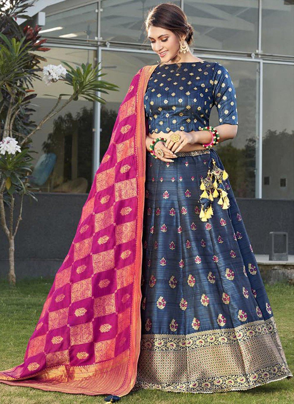 Blue Silk Ceremonial Designer Lehenga Choli