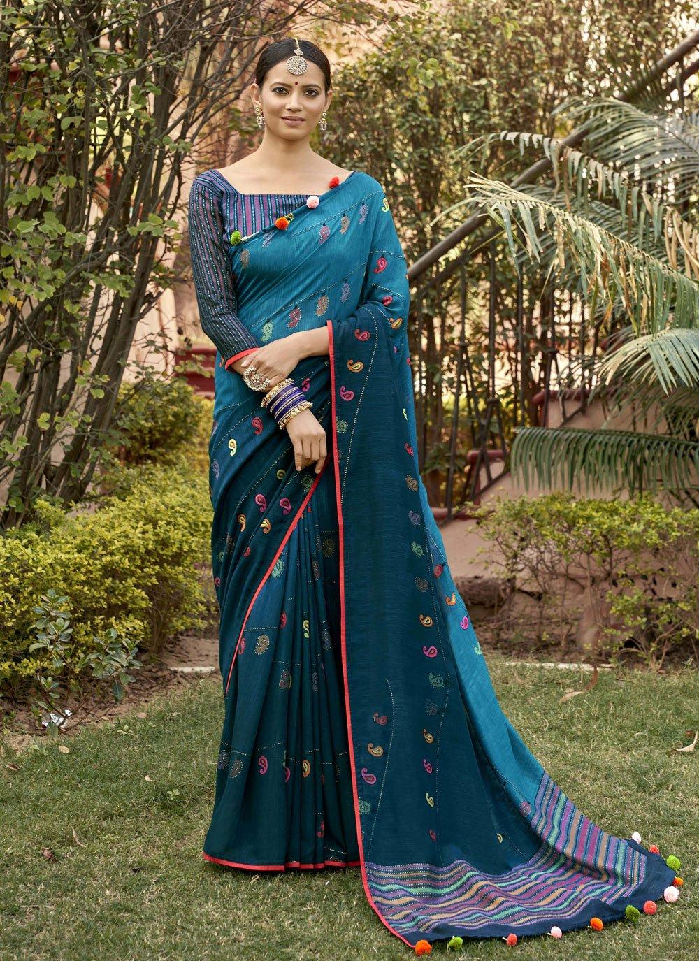 Blue Silk Contemporary Saree