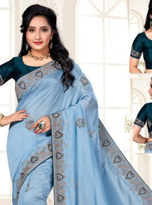Blue Silk Designer Traditional Saree