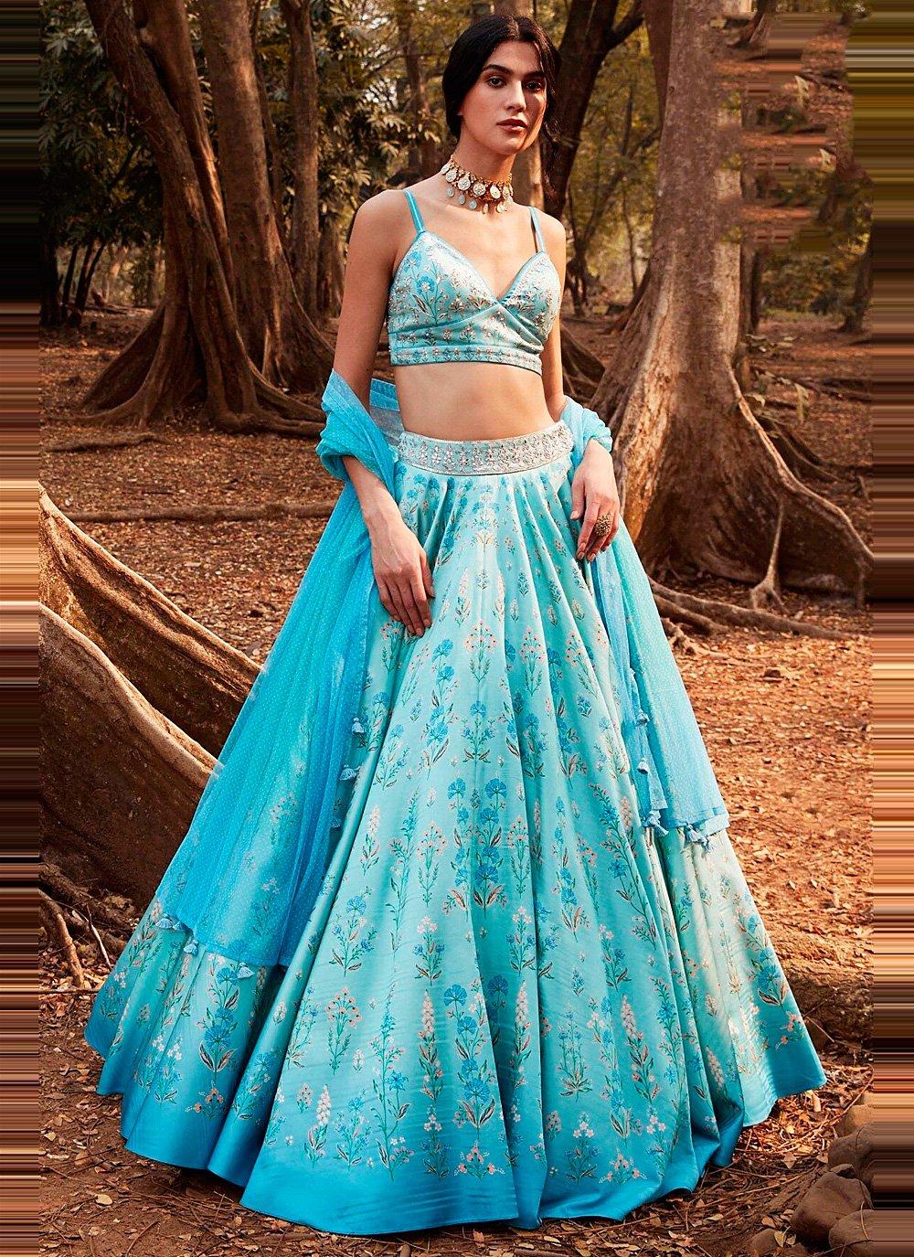 Blue Silk Mehndi Lehenga Choli