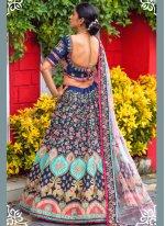 Blue Silk Sangeet Lehenga Choli