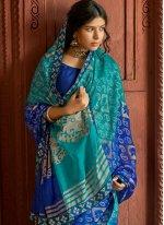 Blue Silk Sangeet Printed Saree