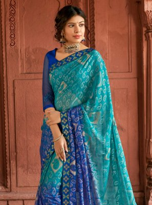Blue Silk Sangeet Printed Saree