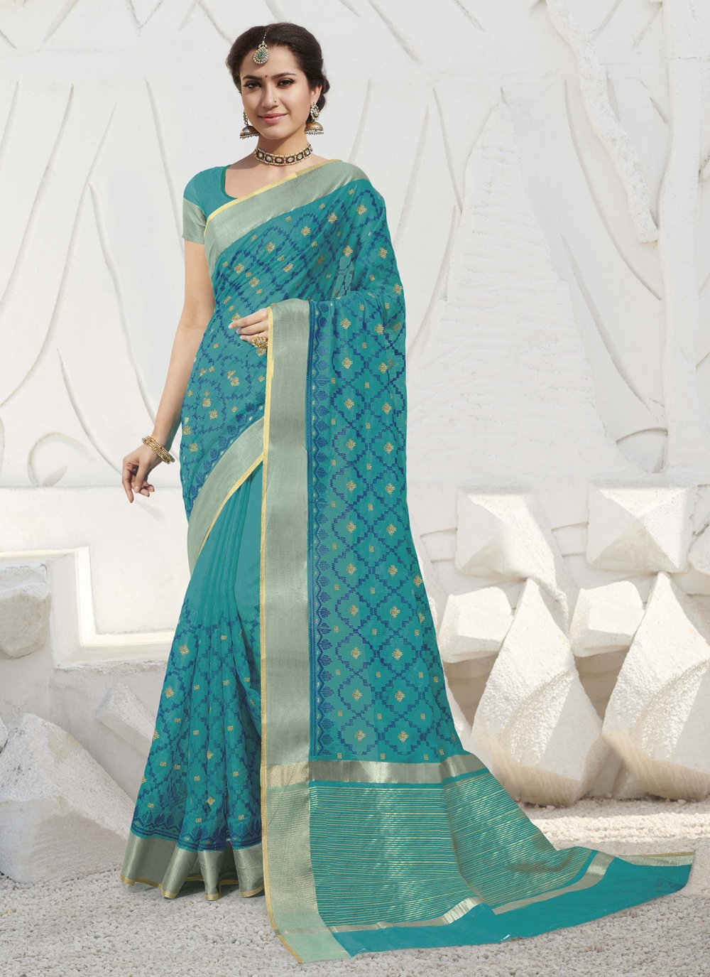 Blue Silk Traditional Designer Saree