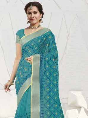 Blue Silk Traditional Designer Saree
