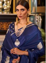 Blue Silk Weaving Designer Traditional Saree