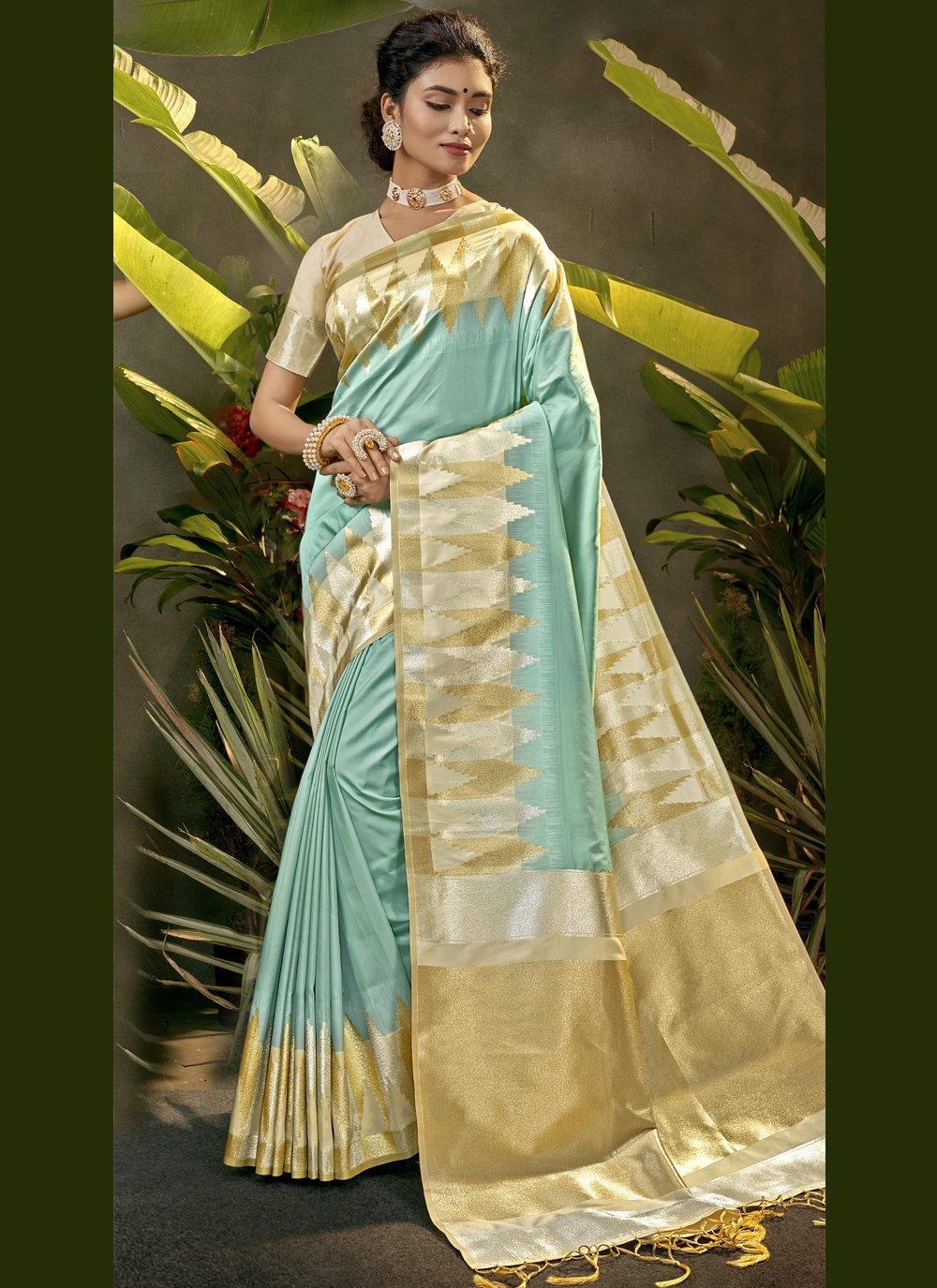 Blue Silk Woven Traditional Designer Saree