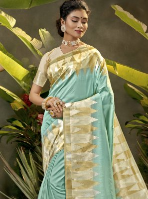 Blue Silk Woven Traditional Designer Saree