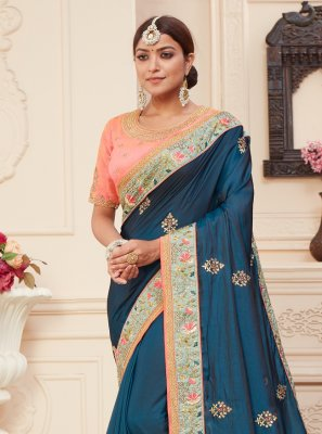 Blue Stone Silk Traditional Designer Saree