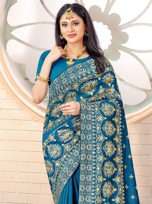 Blue Stone Work Designer Traditional Saree