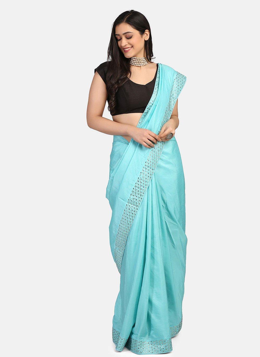 Blue Stone Work Fancy Fabric Trendy Saree