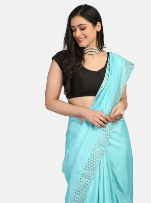 Blue Stone Work Fancy Fabric Trendy Saree