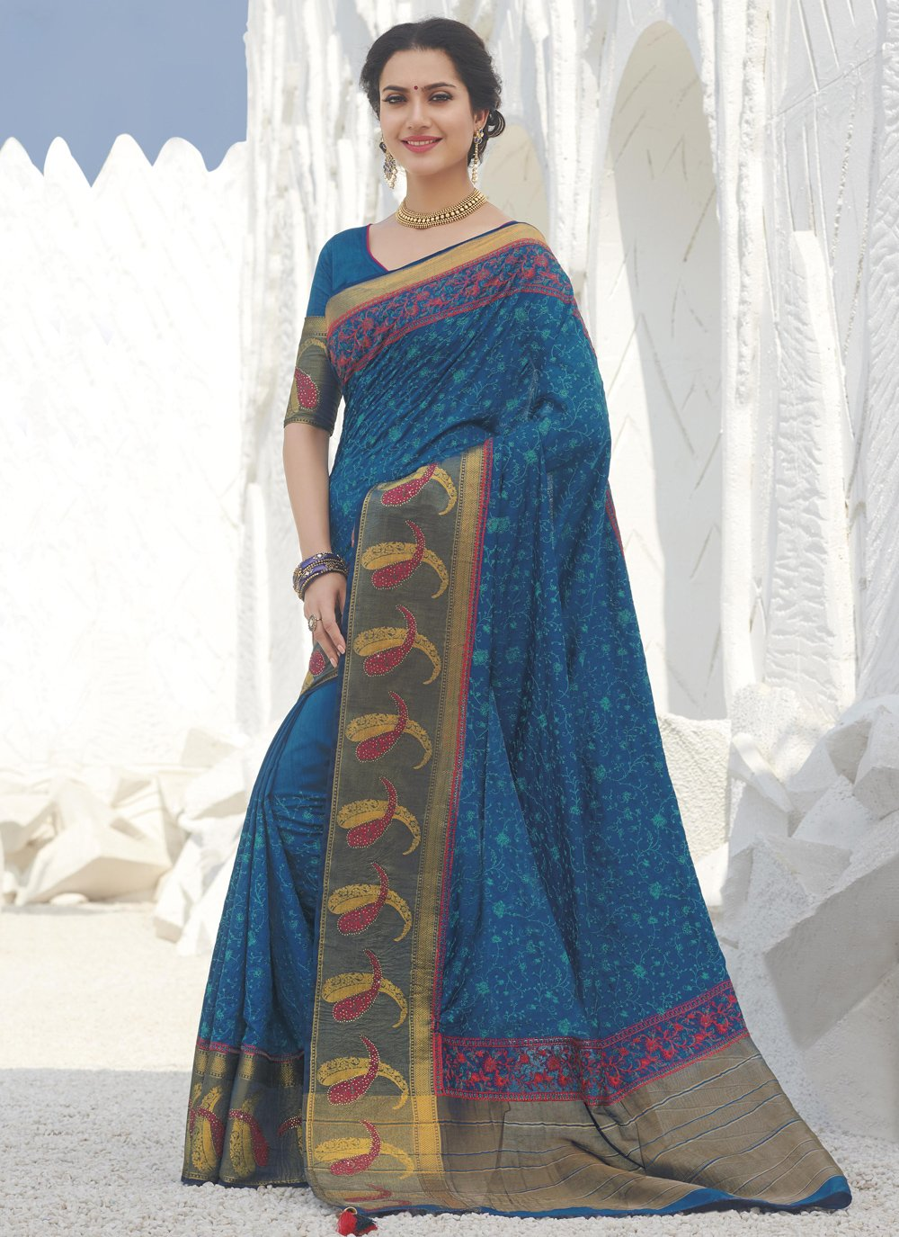 Blue Swarovski Festival Designer Traditional Saree