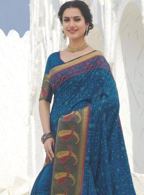 Blue Swarovski Festival Designer Traditional Saree