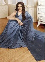 Blue Swarovski Satin Shaded Saree