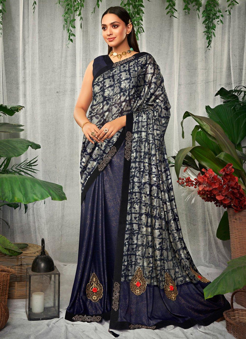 Blue Swarovski Silk Contemporary Saree