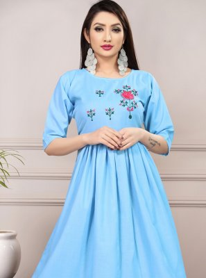Blue Thread Work Casual Casual Kurti
