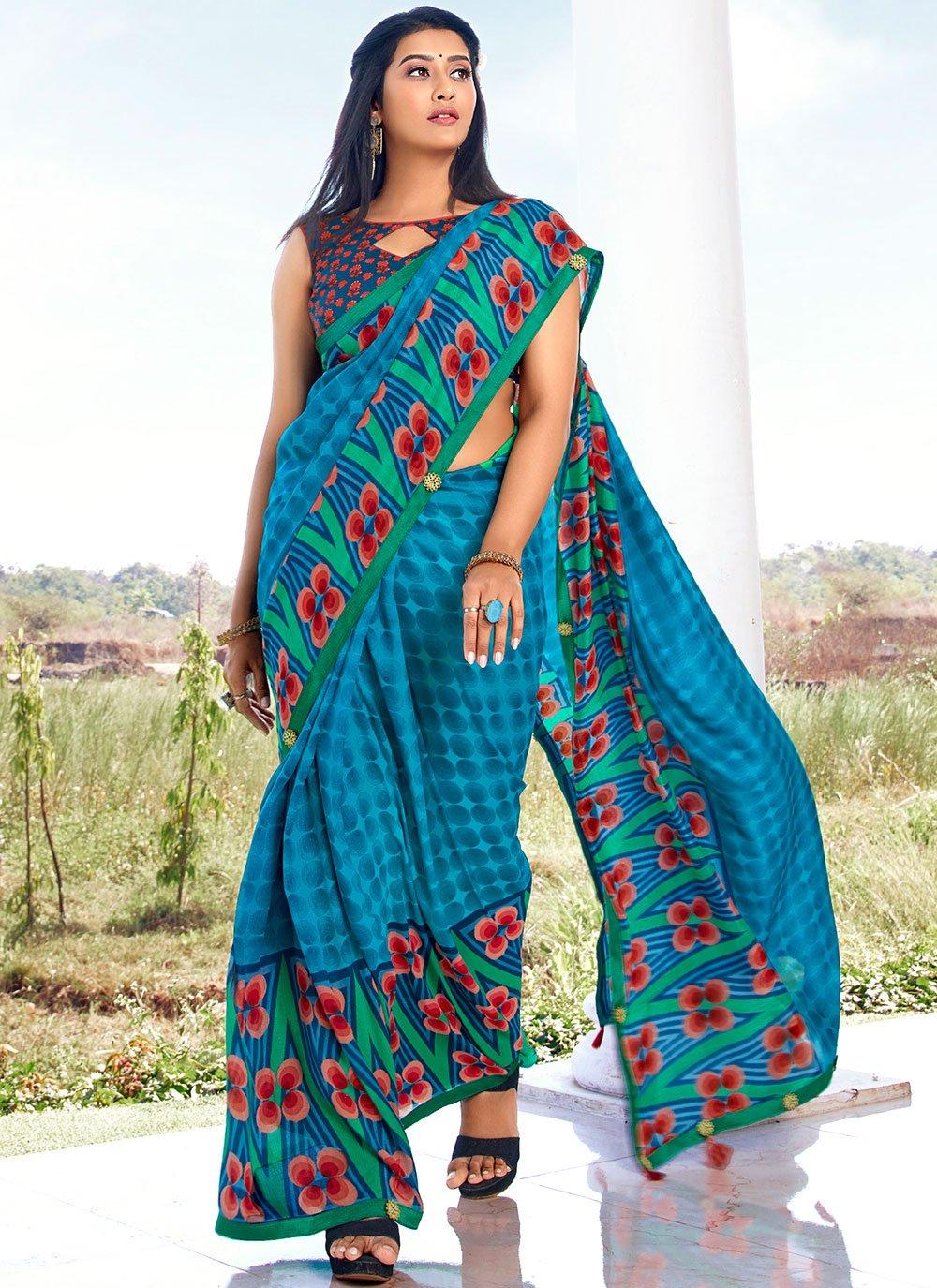 Blue Vichitra Silk Abstract Print Saree