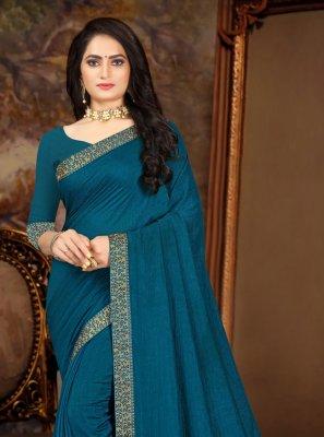 Blue Vichitra Silk Festival Traditional Saree