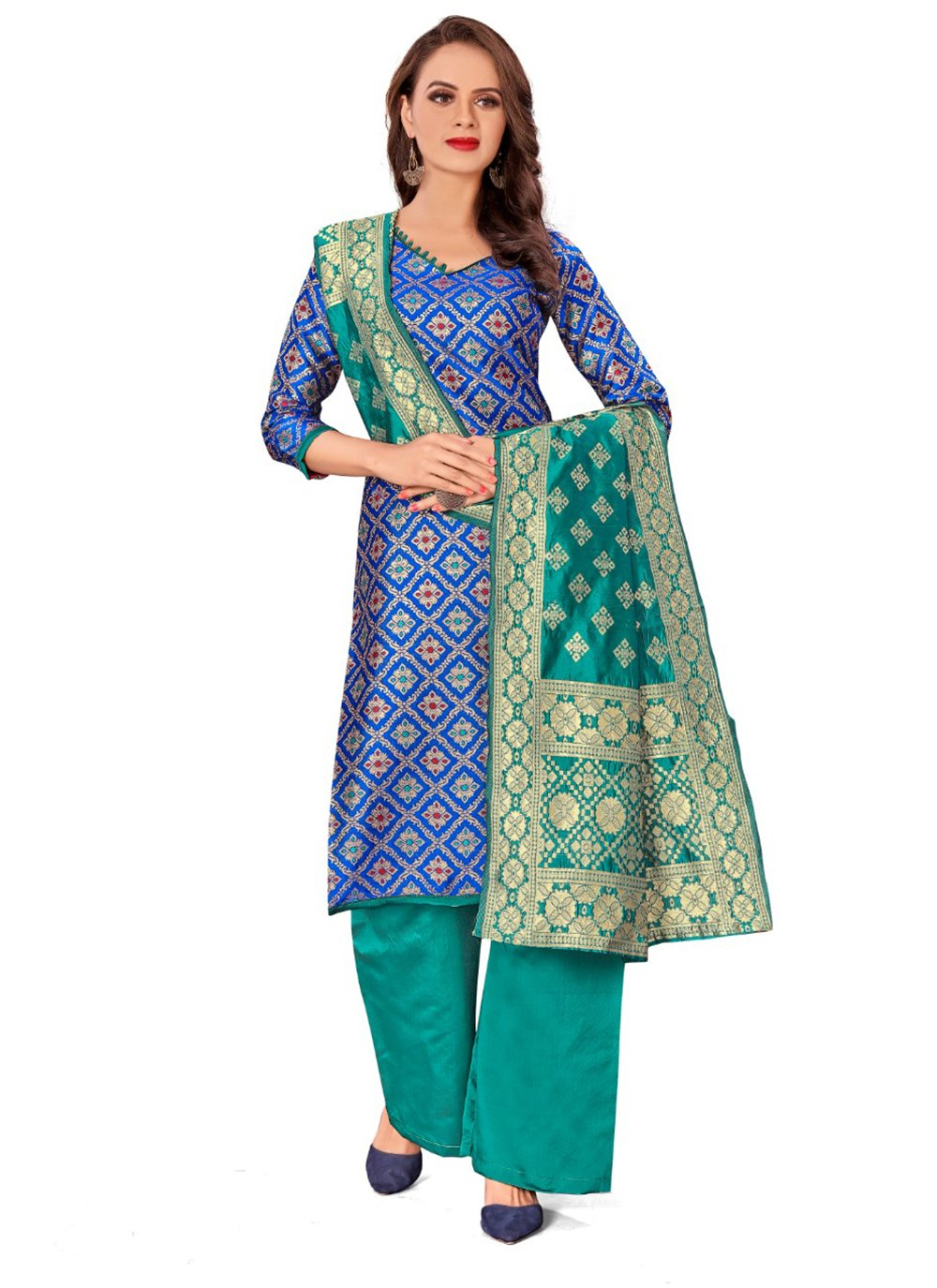 Blue Weaving Banarasi Silk Salwar Kameez