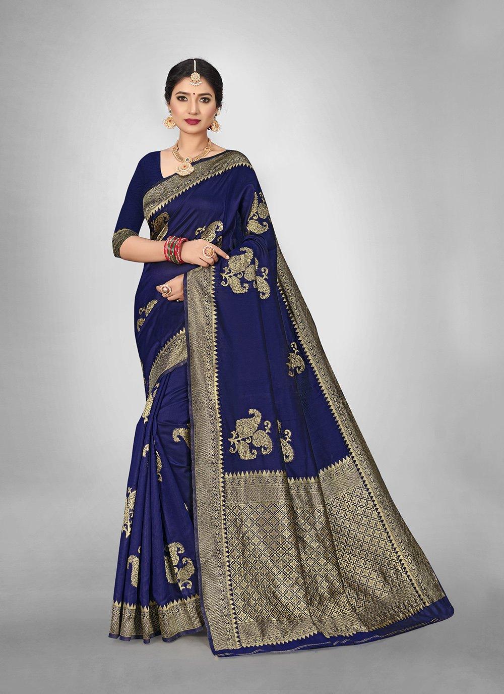 Blue Weaving Festival Silk Saree