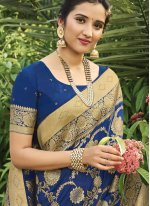 Blue Weaving Festival Traditional Designer Saree