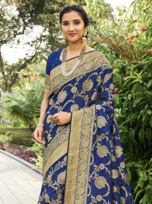 Blue Weaving Festival Traditional Designer Saree