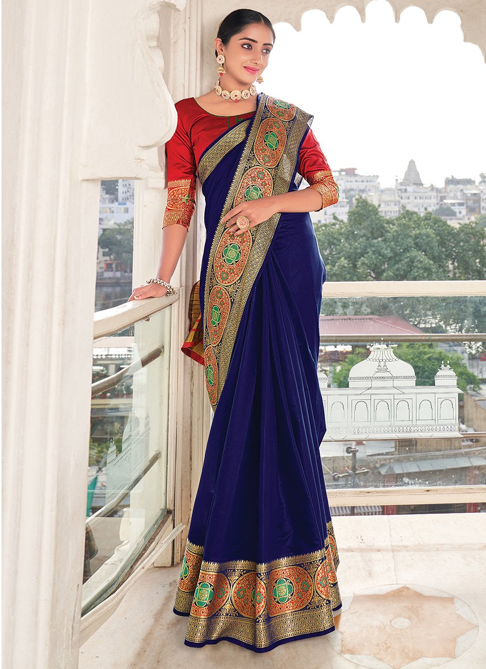 Blue Weaving Silk Saree