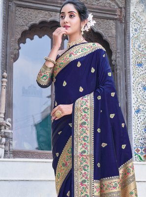 Blue Weaving Silk Silk Saree