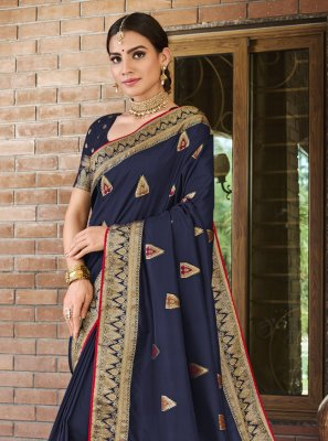 Blue Weaving Silk Traditional Designer Saree