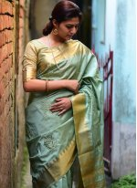 Blue Weaving Silk Traditional Designer Saree