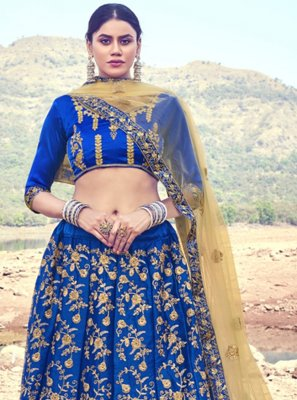 Blue Wedding A Line Lehenga Choli