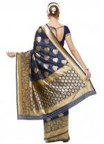 Blue Woven Art Silk Traditional Saree