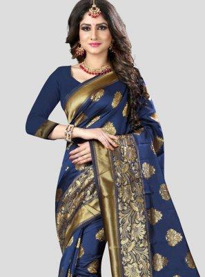 Blue Woven Banarasi Silk Traditional Designer Saree