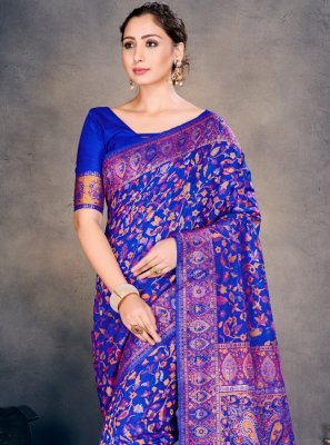Blue Woven Designer Traditional Saree