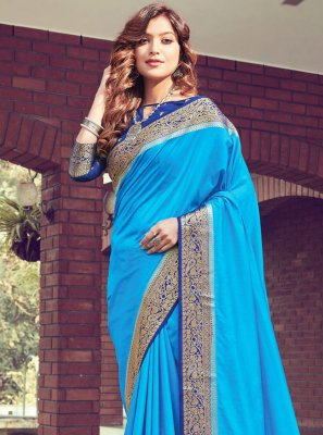 Blue Woven Festival Designer Traditional Saree