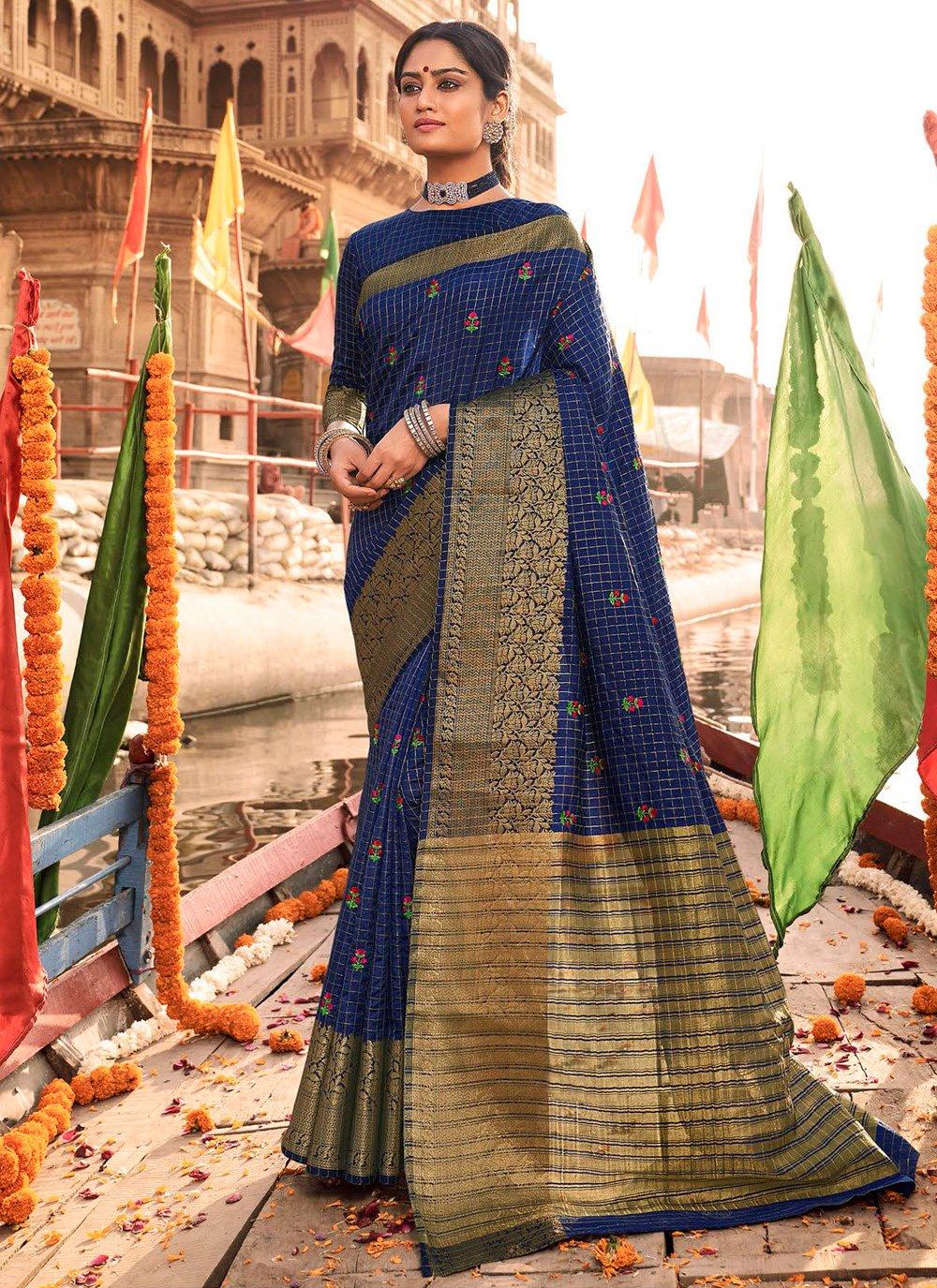 Blue Woven Silk Traditional Designer Saree