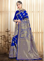 Blue Woven Traditional Designer Saree