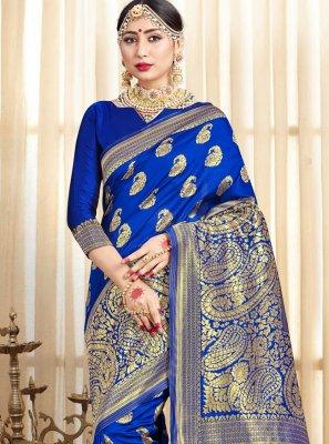 Blue Woven Traditional Designer Saree