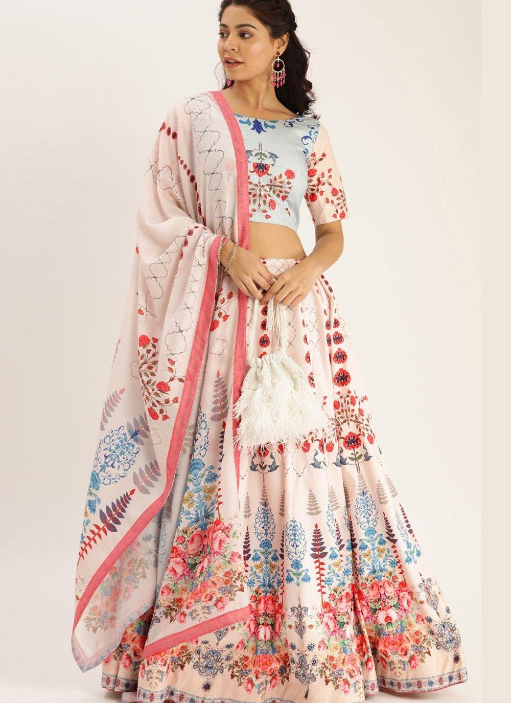 Bollywood Lehenga Choli Digital Print Silk in Cream