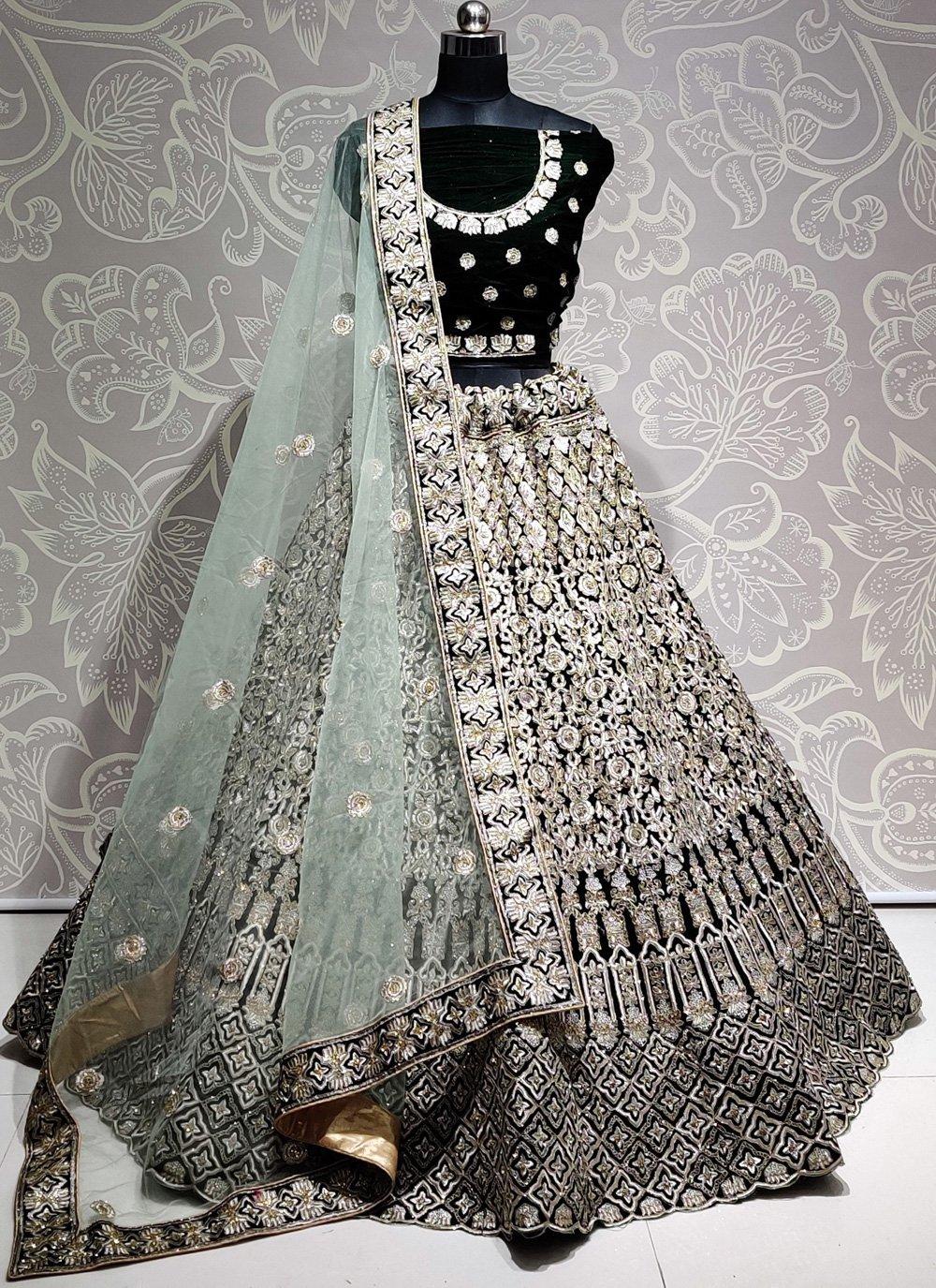Bollywood Lehenga Choli Embroidered Velvet in Green